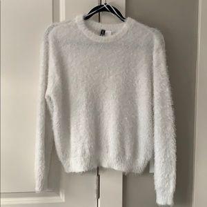 Eyelash texture white sweater